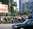 Operai al lavoro nelle strade di Pyongyang, Corea del Nord. Ph. Silvia Dogliani