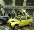 Police inspectors assess the damage after a car bomb, planted by the Islamic Group, detonated in front of Commercial International Bank of Mohandiseen. 31st of March 1994. Ph. Norbert Schiller