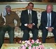Mubarak sitting between PLO leader Yasser Arafat and Israeli Prime Minister Yitzhak Rabin during peace talks. 6th of October 1993. Ph. Norbert Schiller