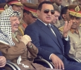 Palestinian Leader Yasser Arafat attends a military air show in Egypt with Field Marshal Hussein Tantawi and Egyptian President Hosni Mubarak, July 1996. Ph. Norbert Schiller