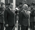 Jordan's King Hussein being received by Egyptian President Hosni Mubarak on 22 November 1986. Hussein was the first to break the Arab Boycott of Egypt knowing full well that peace with Israel could not be done without the help of Egypt. Ph. Norbert Schiller