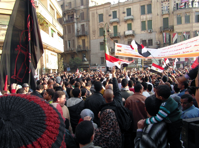 Protestors in Tahrir square, Cairo. Egypt
