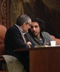 """Ahmed Said con Gianluca Solera durante il convegno """"Non solo Giulio Regeni"""". Milano, 20 gennaio 2017. Ph. Silvia Dogliani"""