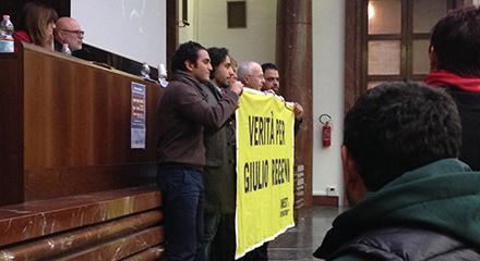 """Ahmed Said durante il convegno """"Non solo Giulio Regeni"""" organizzato a Milano il 20 gennaio 2017"""